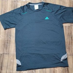 Adidas Lightweight Shirt Navy Blue Teal 3 Stripes